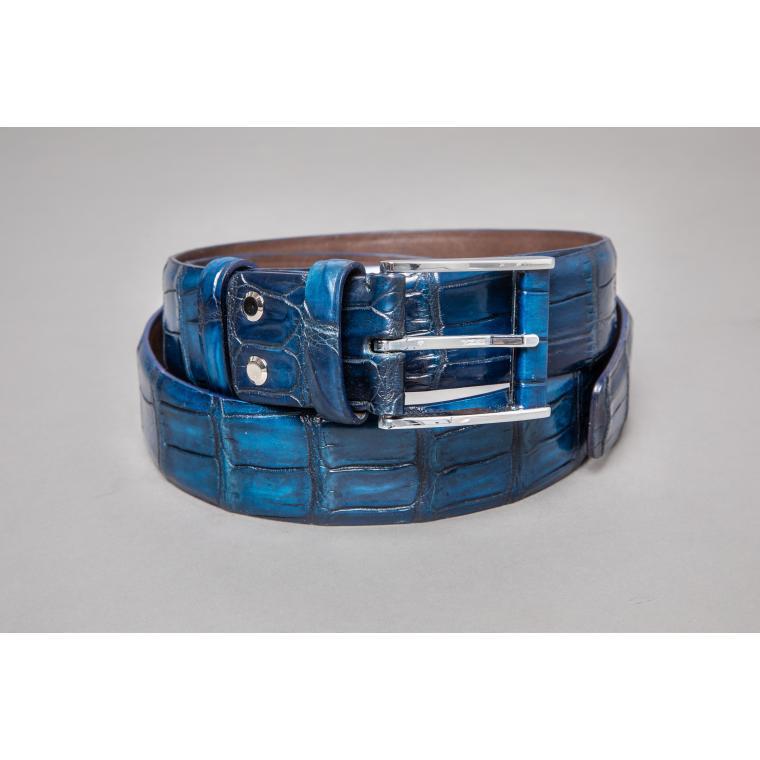 Светло-синий ремень из крокодила
