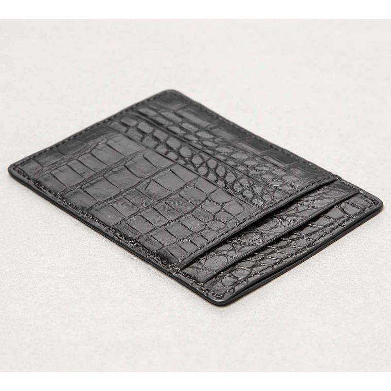 Черный кардхолдер из кожи крокодила