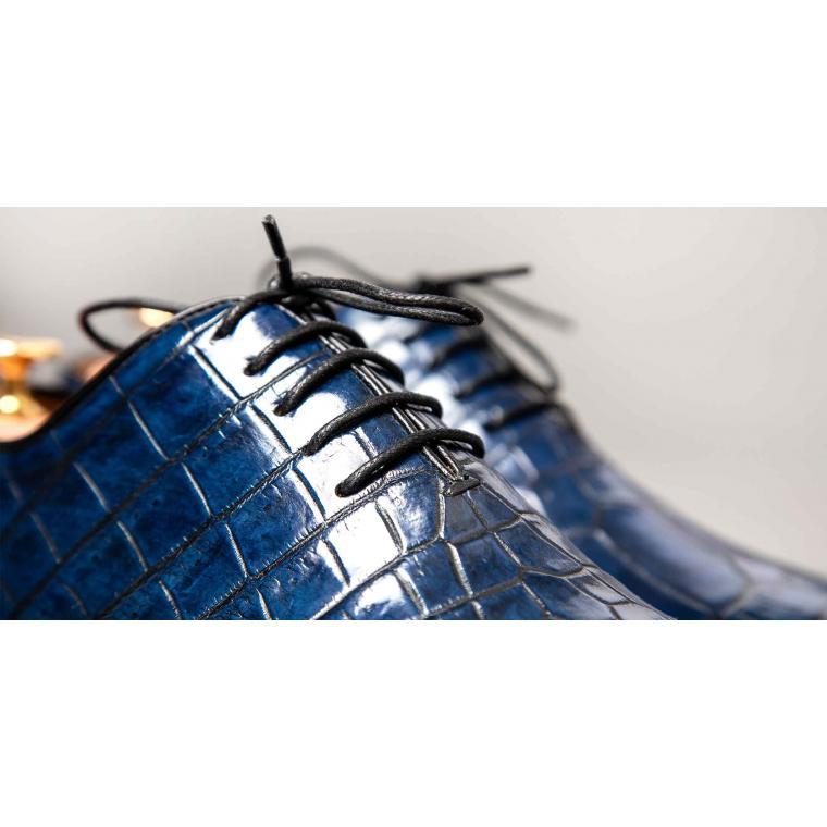 Цельнокроеные синие Оксфорды из кожи аллигатора
